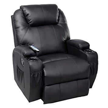 Amazon Ghp Black Sturdy Ergonomic Seating Massage Recliner nicely throughout Sofa Chair Recliner (Image 5 of 20)