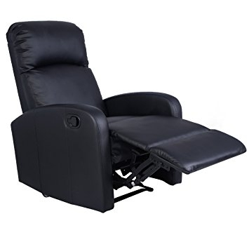 Amazon Giantex Manual Recliner Chair Black Lounger Leather Well Pertaining To Sofa Chair Recliner (View 6 of 20)