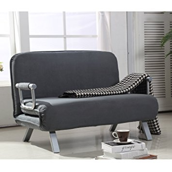 Amazon Homcom Suede Fabric Lounge Futon Sofa Chair Gray good in Lounge Sofas and Chairs (Image 7 of 20)