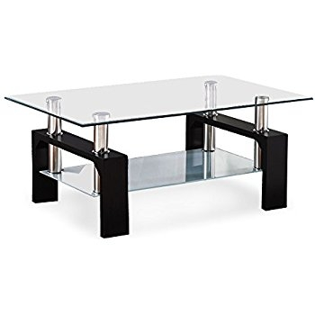 Amazon Iohomes Hudson Coffee Table With Glass Top Black most certainly in Glass Coffee Tables (Image 5 of 20)