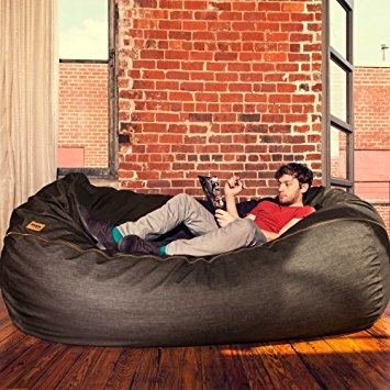 Amazon Jaxx 7 Ft Giant Bean Bag Sofa Black Denim Kitchen very well in Bean Bag Sofas And Chairs (Image 4 of 20)