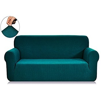 Amazon Madison Stretch Jersey Sofa Slipcover Solid Aqua properly with Turquoise Sofa Covers (Image 3 of 20)