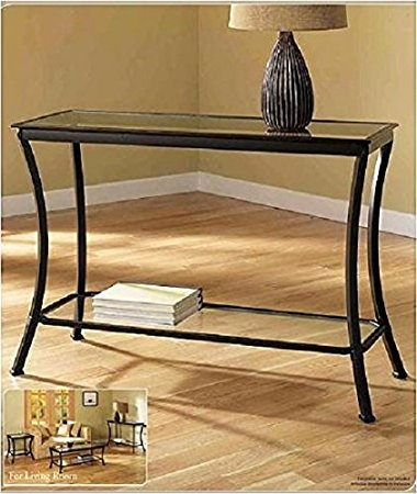Amazon Mendocino Black Console Table Stylish Bronze Metal clearly regarding Metal Glass Sofa Tables (Image 2 of 20)