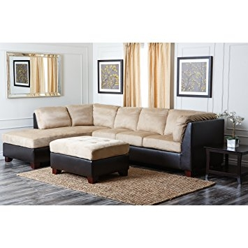 Featured Photo of Abbyson Living Charlotte Beige Sectional Sofa And Ottoman