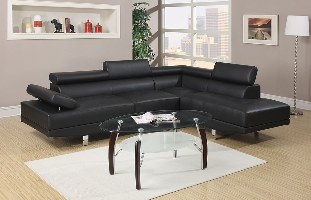 Amazon Poundex Bobkona Atlantic Faux Leather 2 Piece very well for Contemporary Black Leather Sectional Sofa Left Side Chaise (Image 5 of 20)