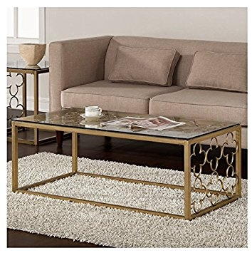 Amazon Quatrefoil Goldtone Metal And Glass Coffee Table very well for Metal And Glass Coffee Tables (Image 3 of 20)