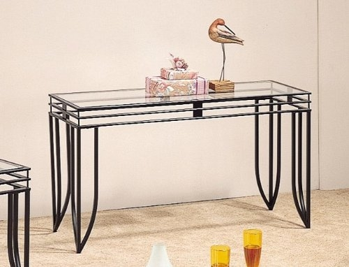 Amazon Satin Black Finish Sofa Table Coaster Kitchen Dining good with Metal Glass Sofa Tables (Image 3 of 20)