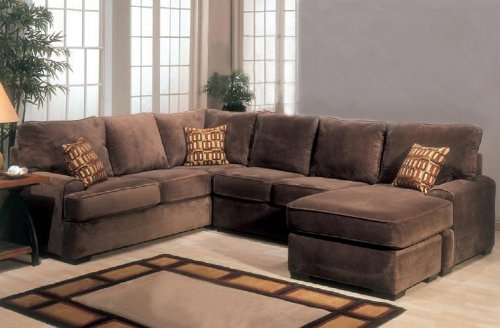 Amazon Sectional Sofa Couch Chaise With Block Feet In perfectly throughout Chocolate Brown Sectional Sofa (Image 6 of 20)