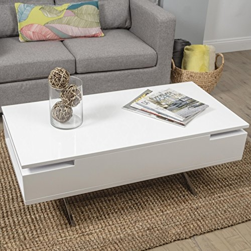 Amazon Stelar White Lacquer Lift Top Rectangular Coffee Table definitely in Lacquer Coffee Tables (Image 2 of 20)