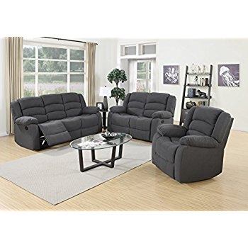 Amazon Us Pride Furniture 3 Piece Grey Fabric Reclining Sofa clearly pertaining to Sofa Loveseat And Chairs (Image 5 of 20)