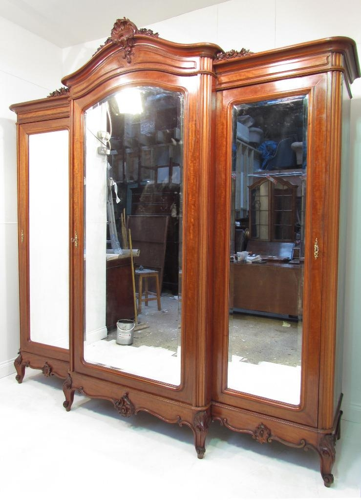 An Exceptional Large French Antique Mahogany Breakfront Wardrobe good within Antique Breakfront Wardrobe (Image 28 of 30)