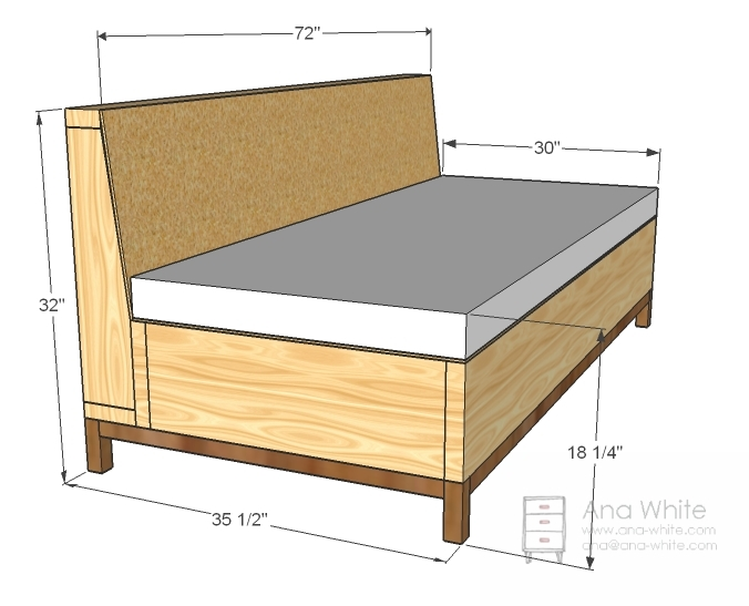 Ana White Storage Sofa Diy Projects definitely regarding Diy Sofa Frame (Image 4 of 20)