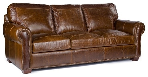 Anchor Bay Collection Top Grain Leather Sofa Pecan Alligator well throughout Full Grain Leather Sofas (Image 2 of 20)