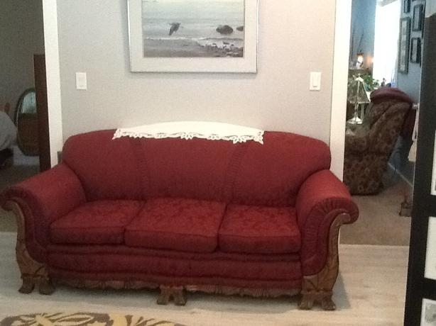 Antique 193039s Couch With Lovely Carved Wood Trim Courtenay Perfectly Regarding 1930s Couch (View 17 of 20)