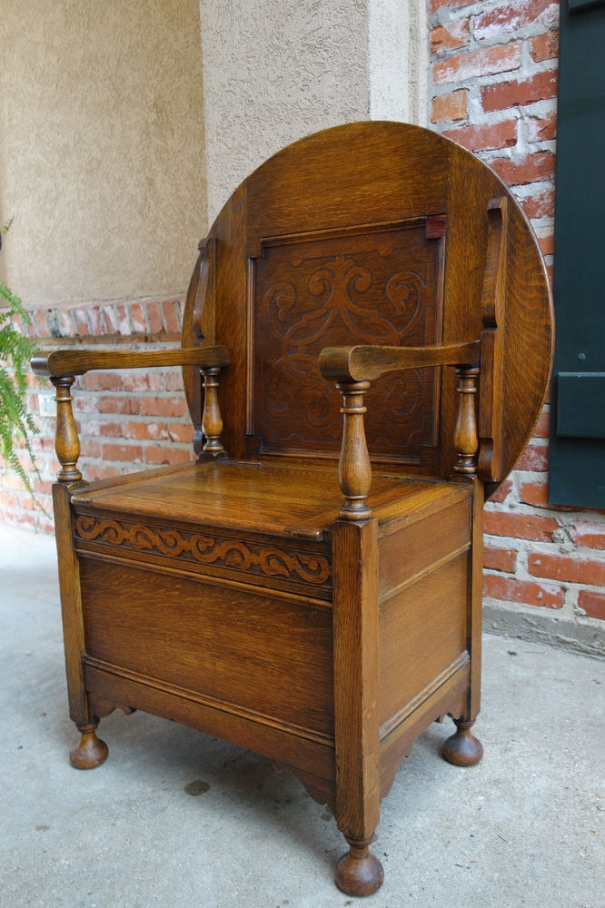 Antique English Carved Tiger Oak Monks Bench Chair Chest Table effectively intended for Monk Chairs (Image 3 of 20)
