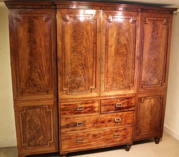 Antique Mahogany Wardrobes The Uks Premier Antiques Portal effectively intended for Breakfront Wardrobe (Image 21 of 30)
