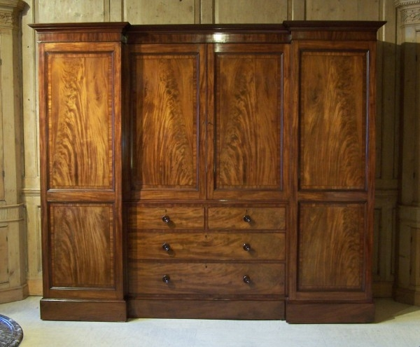 Antique Regency Gillows Wardrobe Summers Davis Antiques Interiors nicely intended for Antique Breakfront Wardrobe (Image 6 of 30)