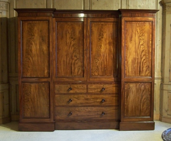 Antique Regency Gillows Wardrobe Summers Davis Antiques Interiors well throughout Breakfront Wardrobe (Image 19 of 30)