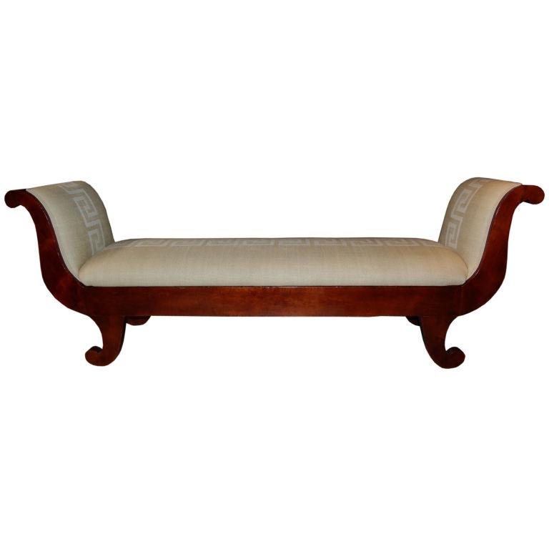 Antique Swedish Biedermeier Greek Key Recamier Sofa Settee Greek Definitely  Within Backless Chaise Sofa (Photo