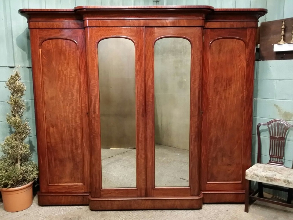 Antique Victorian Mahogany Breakfront Wardrobe Compactum C1880 clearly in Breakfront Wardrobe (Image 5 of 30)