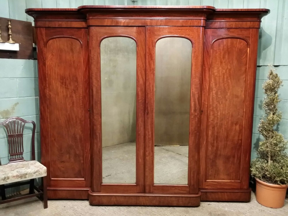 Antique Victorian Mahogany Breakfront Wardrobe Compactum C1880 good intended for Antique Breakfront Wardrobe (Image 13 of 30)