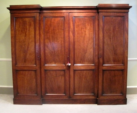 Antique Wardrobe Furniture Antique Linen Press 19th Century perfectly inside Breakfront Wardrobe (Image 7 of 30)