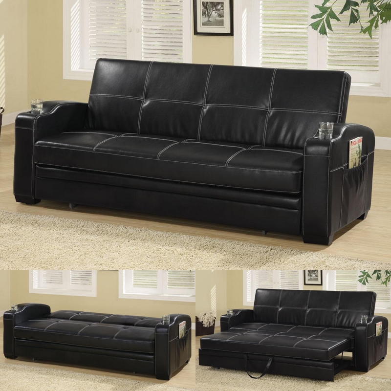 Arlington Collection 300132 Black Futon Black Futon Coaster perfectly with regard to Leather Sofa Beds With Storage (Image 1 of 20)