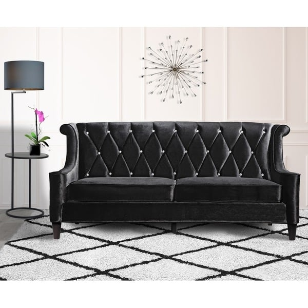 Armen Living Barrister Modern Black Velvet Sofa With Crystal very well with Black Velvet Sofas (Image 2 of 20)