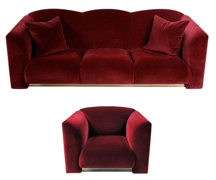 Art Deco Style Plush Red Velvet Sofa Club Chair For Sale definitely with regard to Red Sofa Chairs (Image 2 of 20)