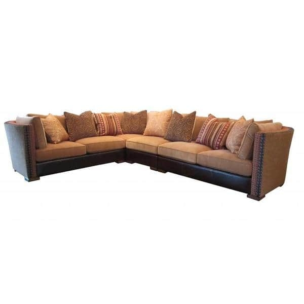 Art Furniture Ventura Madison Chenille And Leather Sectional most certainly intended for Chenille And Leather Sectional Sofa (Image 1 of 20)