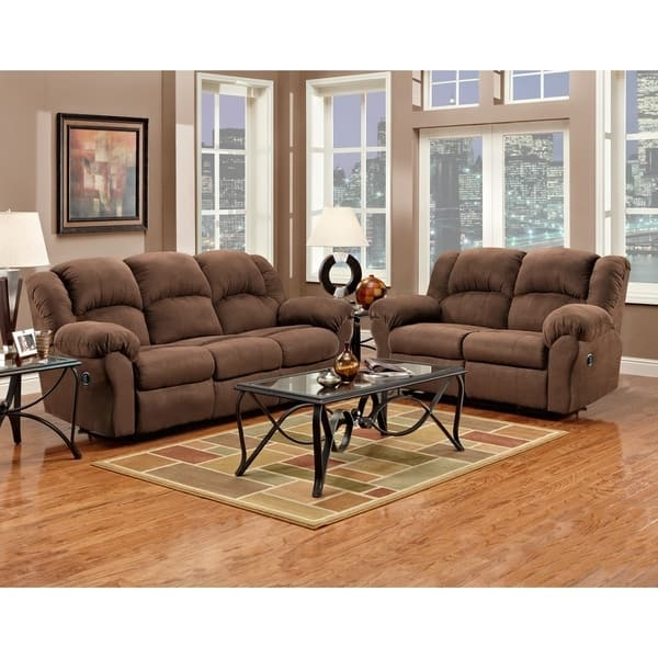 Aruba Chocolate Microfiber Dual Reclining Sofa And Loveseat Set nicely inside Sofa Loveseat And Chairs (Image 6 of 20)