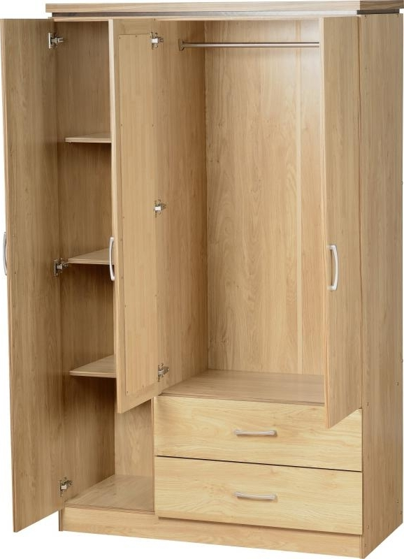 Ashleys Trade Carpet Centre Charles 3 Door 2 Drawer Mirrored most certainly throughout Oak Wardrobe With Drawers and Shelves (Image 4 of 30)