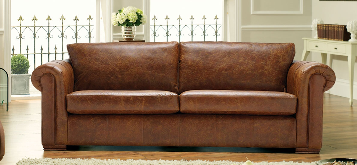 Aspen 2 Seater Leather Sofa 3 Leather Colours Sofasofa most certainly for Aspen Leather Sofas (Image 3 of 20)