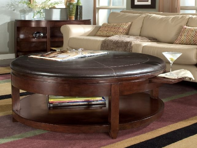 Attractive Round Coffee Table With Storage Ottomans Best 10 Design clearly throughout Brown Leather Ottoman Coffee Tables With Storages (Image 7 of 20)