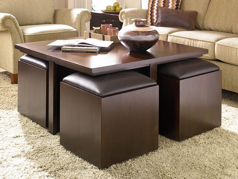Attractive Round Coffee Table With Storage Ottomans Best 10 Design good regarding Brown Leather Ottoman Coffee Tables With Storages (Image 8 of 20)
