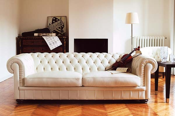 Attractive White Tufted Leather Sofa With Beautiful White Leather certainly inside Affordable Tufted Sofa (Image 4 of 20)
