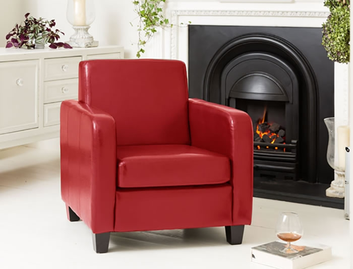 Austria Red Sofa Tub Chair Faux Leather Commercial Quality Single good with regard to Red Sofa Chairs (Image 3 of 20)