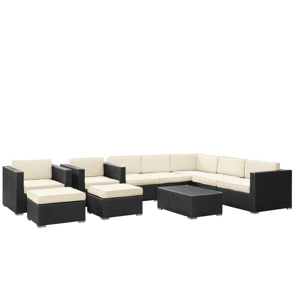Avia Outdoor Wicker Patio 10 Piece Sectional Sofa Set In Espresso Very Well Regarding 10 Piece Sectional Sofa (View 5 of 20)
