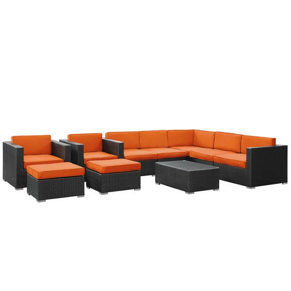 Avia Outdoor Wicker Patio 10 Piece Sectional Sofa Set In Espresso Well For 10 Piece Sectional Sofa (View 8 of 20)
