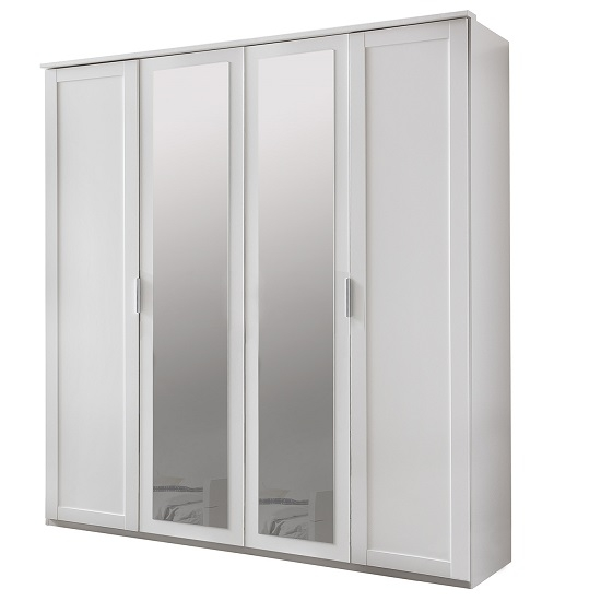 Avira Wooden Mirror Wardrobe Large In Alpine White 31081 Certainly Within Double Rail Wardrobes