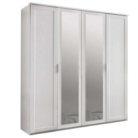 Avira Wooden Mirror Wardrobe Large In Alpine White 31081 well pertaining to Large Double Rail Wardrobes (Image 5 of 30)