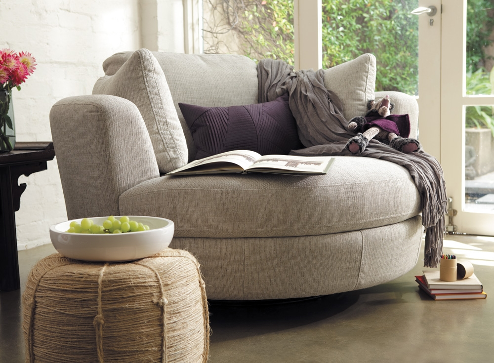 Awesome Round Swivel Sofa Chair Round Sofa Chair Stoney Creek clearly intended for Big Round Sofa Chairs (Image 8 of 20)