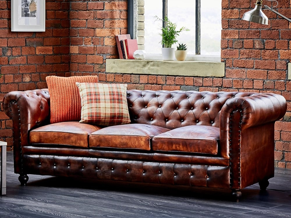 Awesome Tan Chesterfield Sofa Near Window In The Living Room With effectively with Small Chesterfield Sofas (Image 8 of 20)