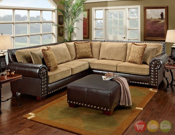 Awesome Traditional Brown And Tan Sectional Sofa With Nailhead perfectly throughout Chenille And Leather Sectional Sofa (Image 2 of 20)