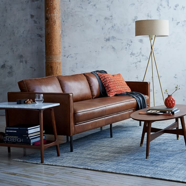 Axel Leather Sofa 89 West Elm clearly regarding Aniline Leather Sofas (Image 6 of 20)