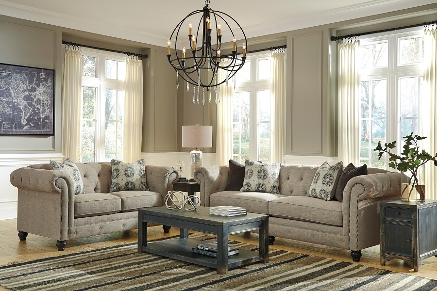Azlyn Collection 99402 Ashley Sofa Loveseat Set definitely within Ashley Tufted Sofa (Image 3 of 20)