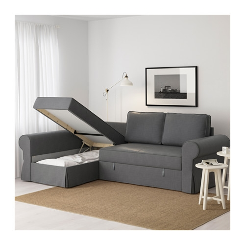 Backabro Sofa Bed With Chaise Longue Nordvalla Dark Grey Ikea effectively within Sofas With Chaise Longue (Image 2 of 20)