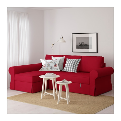 Backabro Sofa Bed With Chaise Longue Nordvalla Red Ikea definitely with regard to Red Sofa Beds IKEA (Image 3 of 20)