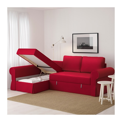Backabro Sofa Bed With Chaise Longue Nordvalla Red Ikea Well In Red Sofa Beds Ikea (View 5 of 20)