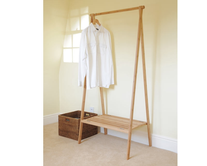 Bamboo Folding Wardrobe clearly for Double Clothes Rail Wardrobes (Image 11 of 20)